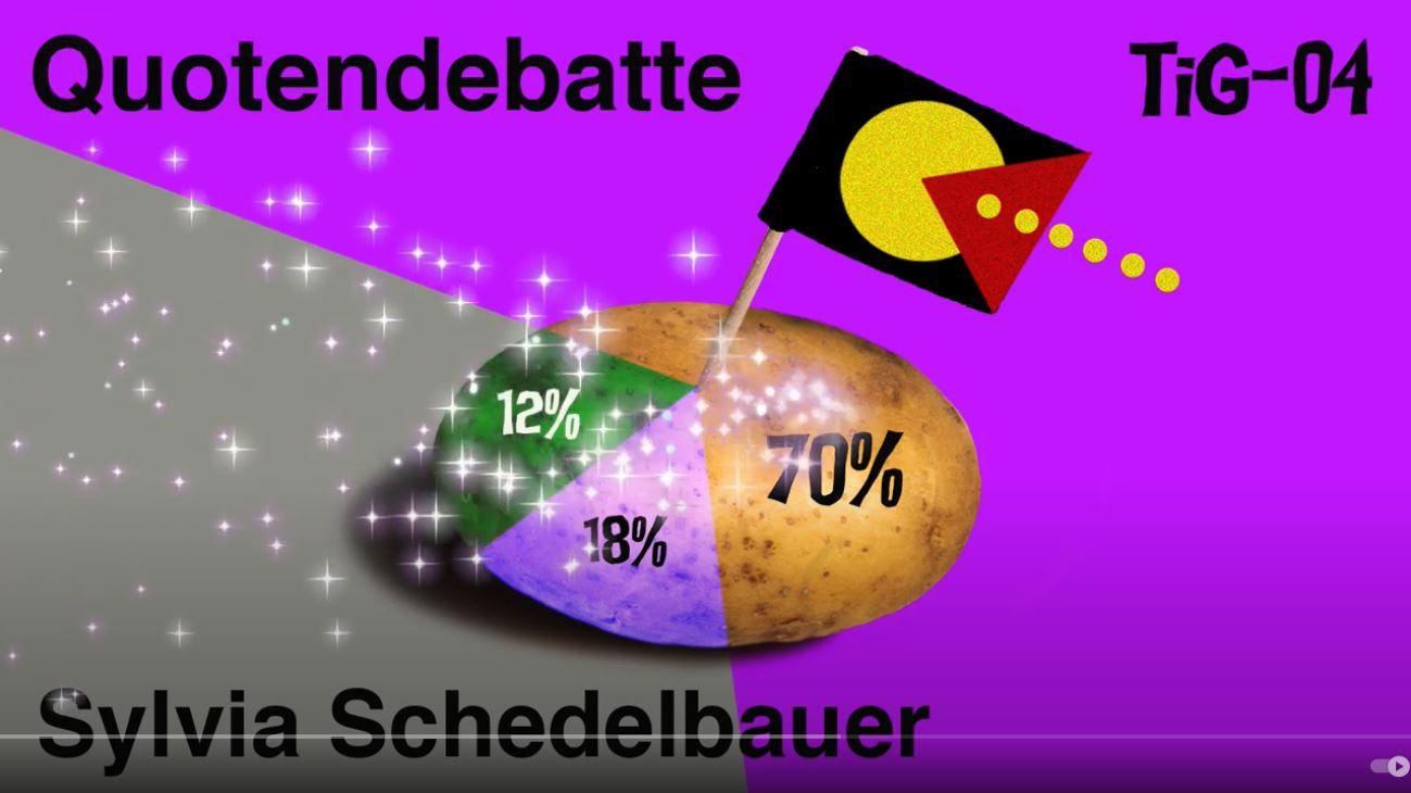 """Screenshot von einem YouTube-Video, zu sehen ist der Titel """"Quotendebatte"""" und unten der Name Sylvia Schedelbauer, die in dem Video spricht. In der Mitte in einer Kartoffel, die als Diagramm dient, von links fällt Glitzer ins Bild hinein und in der Kartoffel steckt eine kleine Flagge mit Pacman-Motiv"""