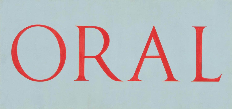 Ein Bild mit der Wort ORAL in roten Großbuchstaben auf hellblauem Grund