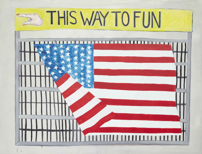 """Die Flage der USA weht an einem Gitter. Darüber ein Banner mit der Aufschrift """"This way to fun"""" mit einem Finger, der nach links zeigt."""