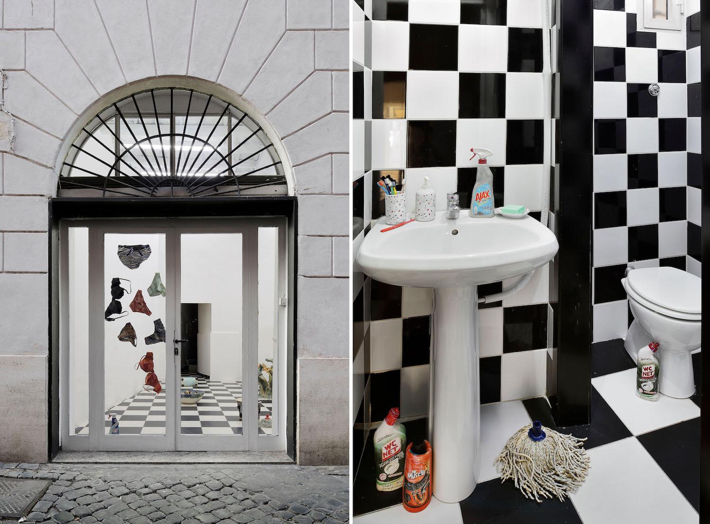 Links: Unterwäschekeramiken von Urara Tscuhiya im Schaufenster von ADA, rechts: ein Badezimmer mit Putzmitteln aus Keramik.