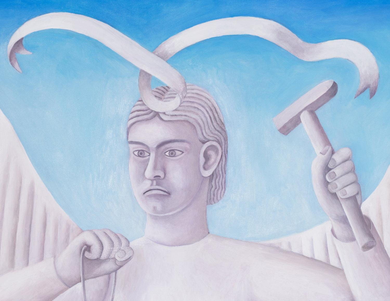 Malerei von Agnes Scherer. Zu sehen ist ein Mensch mit Hammer in der Hand von den Schultern aufwärts.