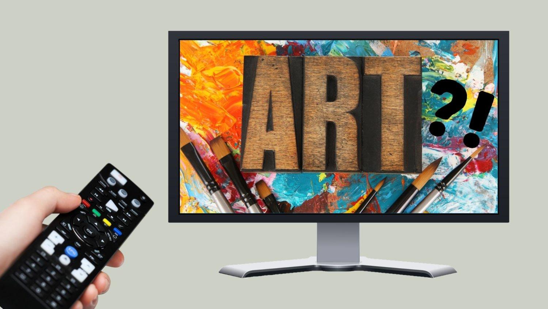 Collage mit einem Fernseher in dem groß ART steht und links kommt aus dem Bildrand eine Hand, die eine Fernbedienung in Richtung Fernseher hält