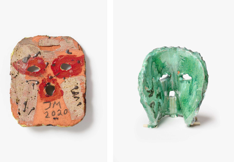Das Bild zeigt zwei Keramiken des Künstlers Jonathan Meese.