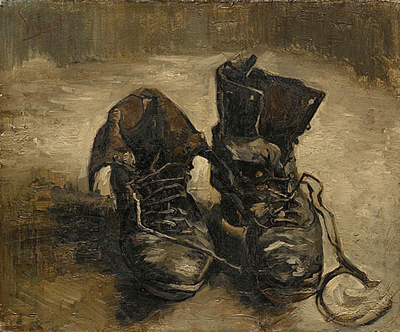 Malerei zeigt zwei braune, ausgelatschte Schnürschuhe.