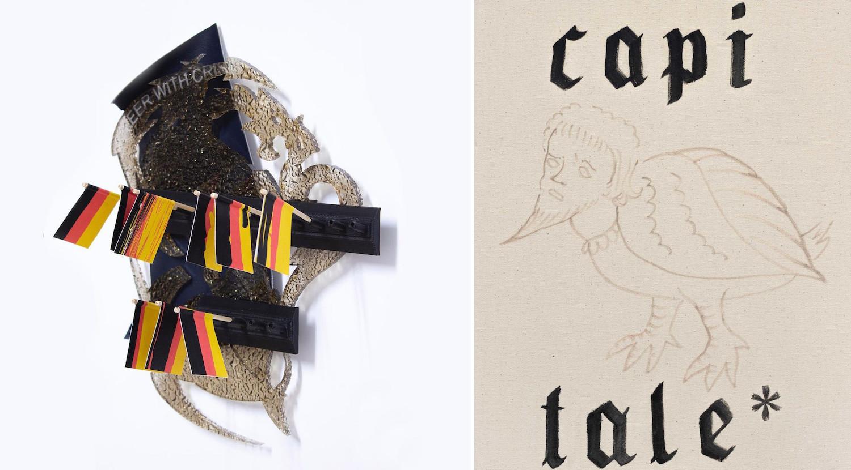 """Links eine Wandskulptur mit Deutschlandflaggen, rechts eine Zeichnung, halb Mensch, halb Vogel mit dem Schriftzug """"capi tale*""""."""