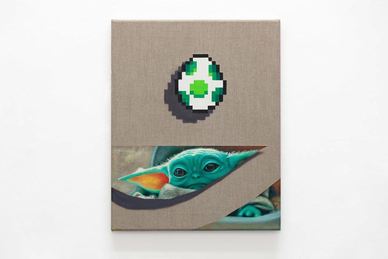Zu sehen ist ein Gemälde von Baby Yoda und Joshi Ei von Super Mario auf Stoff.