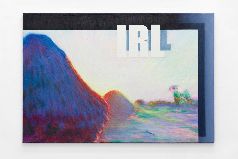 Hier wird ein Ausschnitt aus einem Monet mit den Buchstaben IRL auf grauem Grund kombiniert.