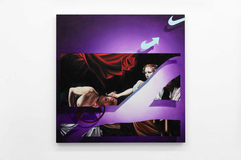 Das Gemälde zeigt einen Ausschnitt ausCarravaggio's Judith and Holofernes mit den Logos der Agentur für Arbeit, Nike und der Afd auf violettem Hintergrund.
