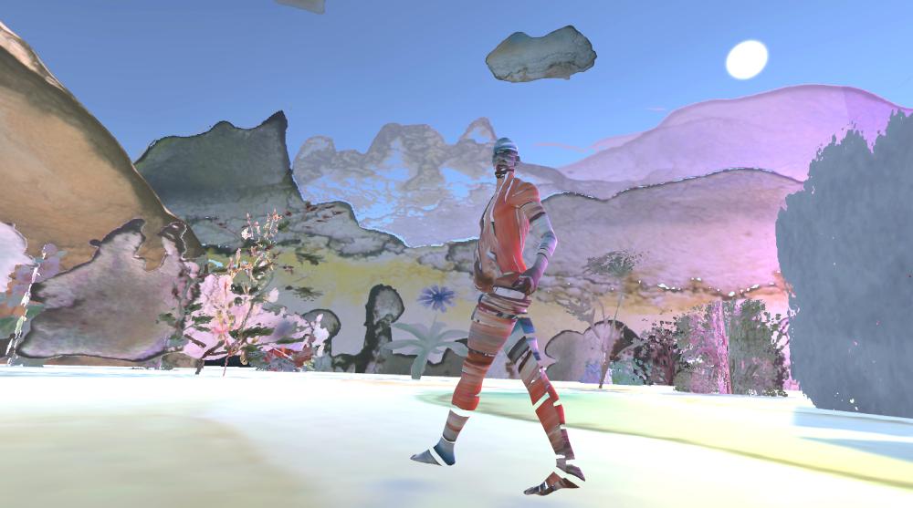 Eine bunte Virtual Reality Landschaft zeichnet sich am Horizont ab, davor läuft eine Person, die nur aus bruchstückhaften Körperteilen besteht.