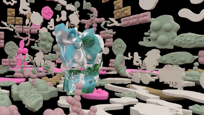Vor schwarzem Hintergrund sind mehrere bunte Objekte angeordnet, die an organische Legosteine erinnern. Sie scheinen zu schweben.