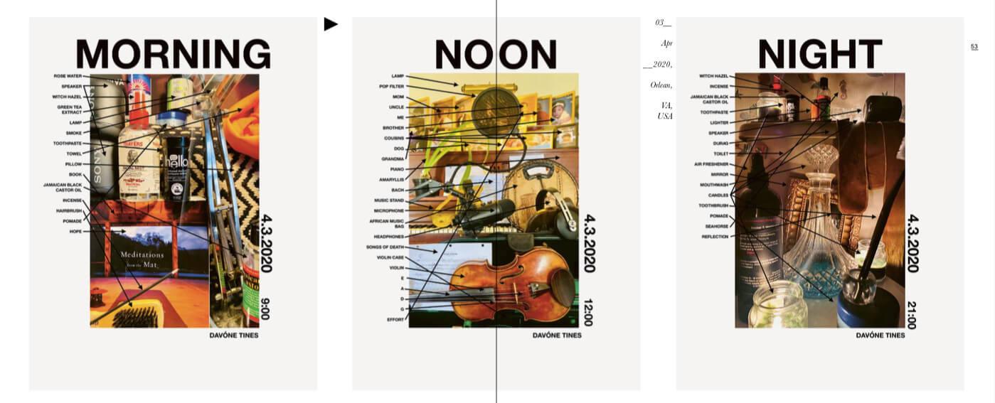 Das Bild zeigt eine Bildmontage der Künstlerin Davoneilen Tines, welche diverse Gegenstände ihrer alltäglichen Routinen und deren Bezeichnung darstellt.