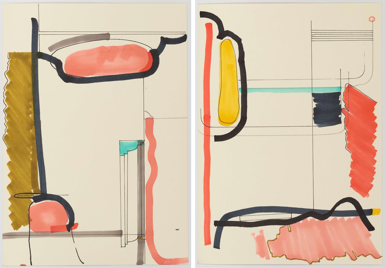 """Faisal Habibi: """"Untitled"""", Jarmuschek + Partner. Foto: Clara Wenzel-Theiler. Zeichnungen"""