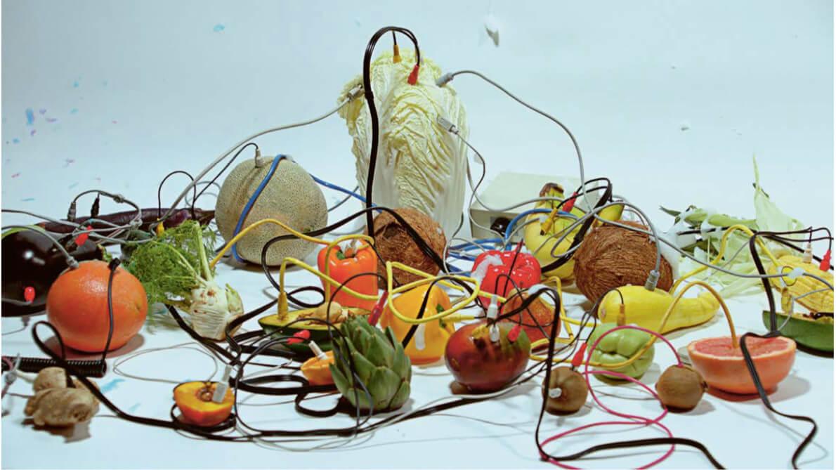 Das Bild zeigt ein Stilleben der Künstler Jonathan Freeman und Justin Lowe mit diversen Früchten, welche über Kabel miteinander verbunden sind.