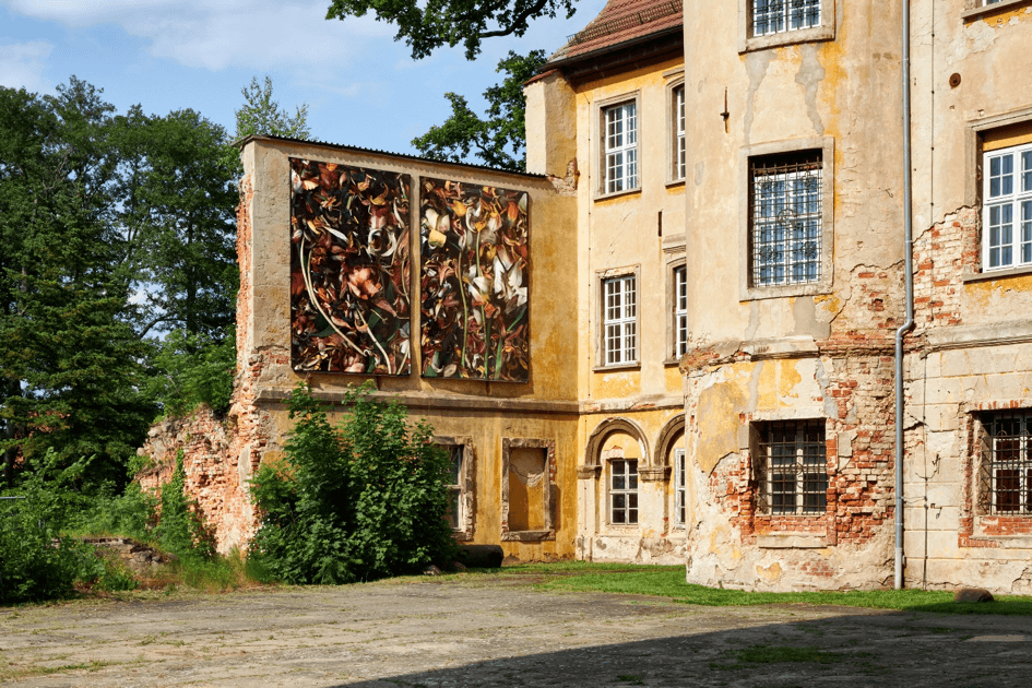 Außenansicht vom Schloss Lieberose mit teilweise bröckelnder Fassade an der großformatige Blumen-Kunstwerke von Luzia Simons angebracht sind. Die Sonne scheint auf das Gebäude.