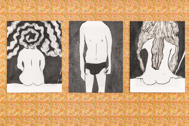 Drei schwarz-weiße Arbeiten von nahem.
