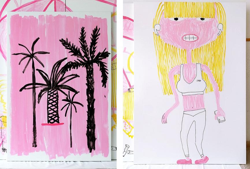 Zwei comichafte Malereien der Künstlerin Katharina Arndt, eines zeigt Palmen, das andere eine blonde Sportlerin.
