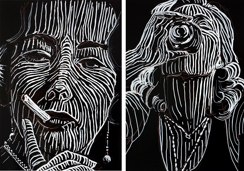 Zwei Zeichnungen von Katharina Arndt mit einer rauchenden und einer trinkenden Frau