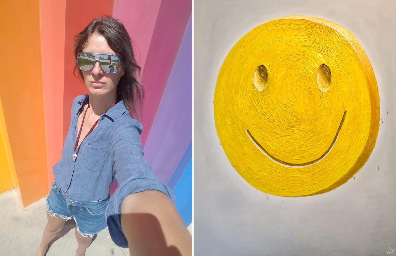 Links ein Selfie von Lena Schramm, rechts eine gelbe Smiley-Ecstasy-Tablette gemalt auf weißem Grund.