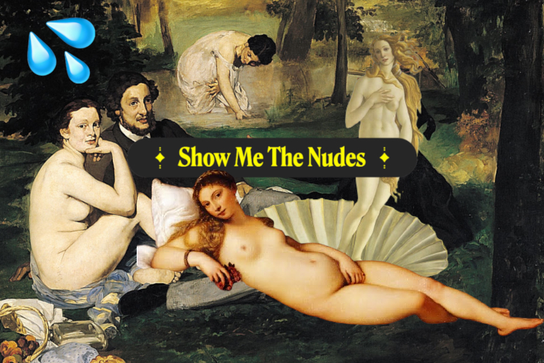 """Die bekannten Malereien """"Das Frühstück im Grünen"""", """"Die Venus von Urbino"""" und """"Die Geburt der Venus sind collagiert. Links oben ein Emoji mit spritzender Flüssigkeit, in der Mitte der Schriftzug """"Show Me The Nudes""""."""