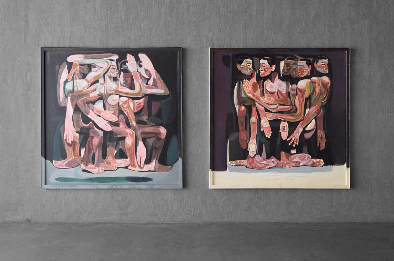 Zwei Malereien von Tesfaye Urgessa