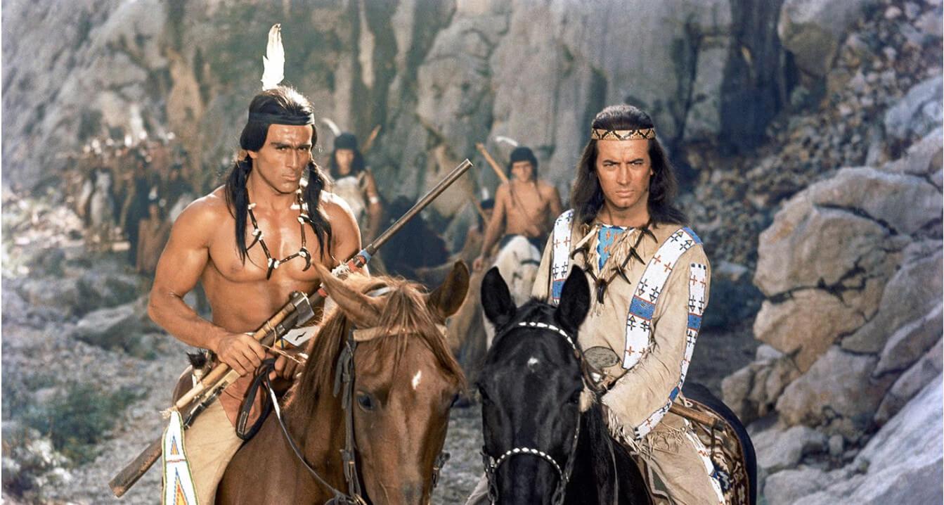 """Das Bild zeigt einen Filmstill des Filmes """"Winnetou, 1. Teil"""" von Harald Reinl aus dem Jahr 1963."""