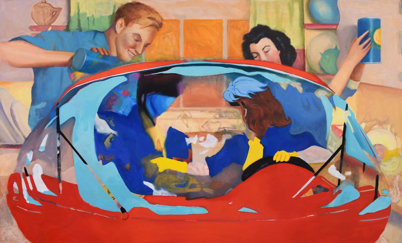 Zwei Personen in einem Auto vor einem Hintergrund von einem Paar aus vergangener Werbeästhetik.