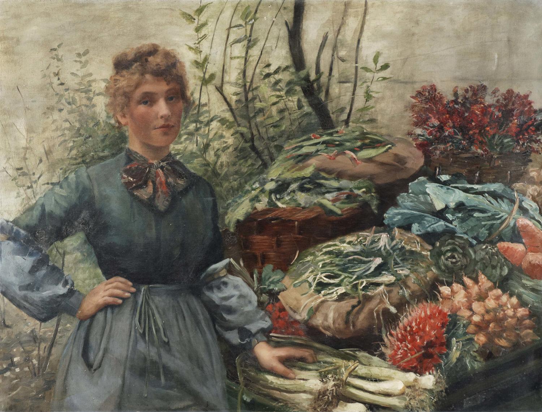 Ein Gemälde, auf dem eine Gemüseverkäuferin neben ihrem Verkaufsstand