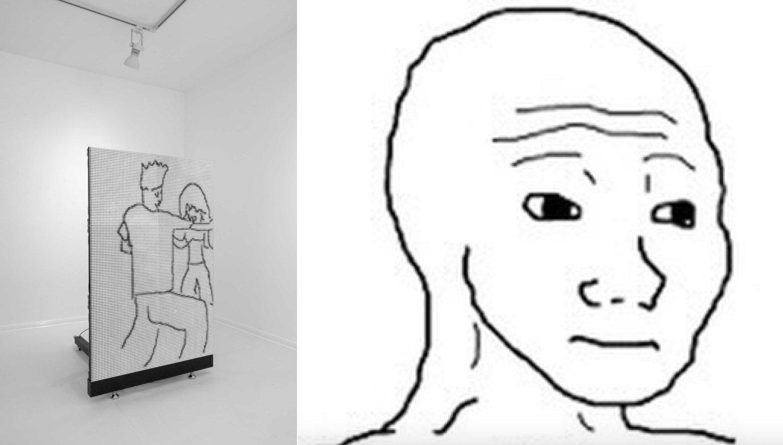 """Links: Ein Screen in einem White Cube zeigen ein Fragment eines """"They-Don't Know""""-Memes. Rechts: Der Kopf von Feels Guy Wojak."""