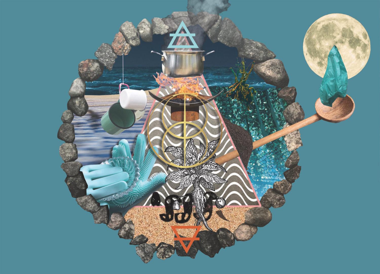 Aus verschiedenen Elementen zusammengesetzte Grafik. Zu erkennen sind Emaille-Gefäße, ein Feuer, eine Pflanzenzeichnung, ein Holzlöffel, der Mond und mehr.