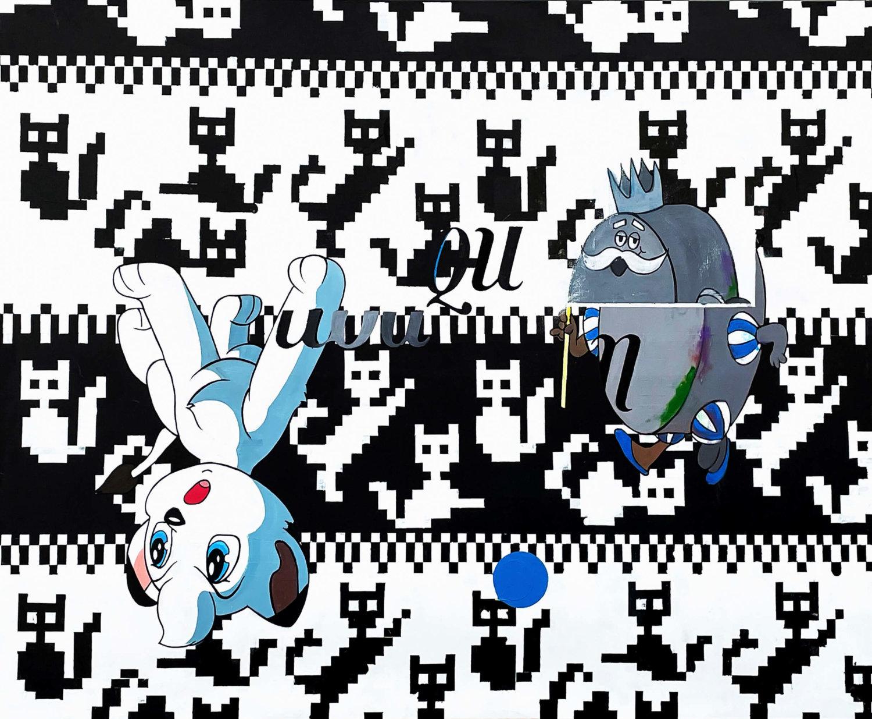 Schwarz-weißer Hintergrund mit verpixelten Katzen, zwei Comic-Figuren sind überlagert