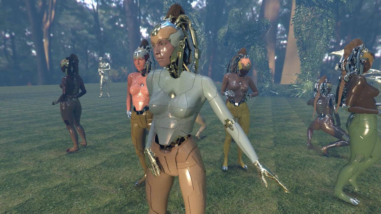 Eine Gruppe Cyborg-artiger Figuren steht auf einer Lichtung. Sie scheinen zu tanzen.