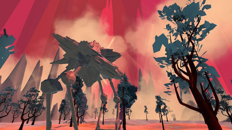 Eine futuristische Landschaft mit verpixelten Bäumen und langbeinigen Steinwesen vor magentafarbenem Himmel.