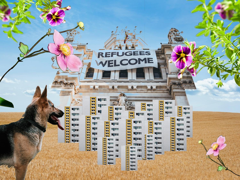 """Collage: Auf ein Kornfeld sind Plattenbauten, Blumen, ein Schäferhund sowie ein Banner, auf dem """"Refugees Welcome"""" steht, montiert."""