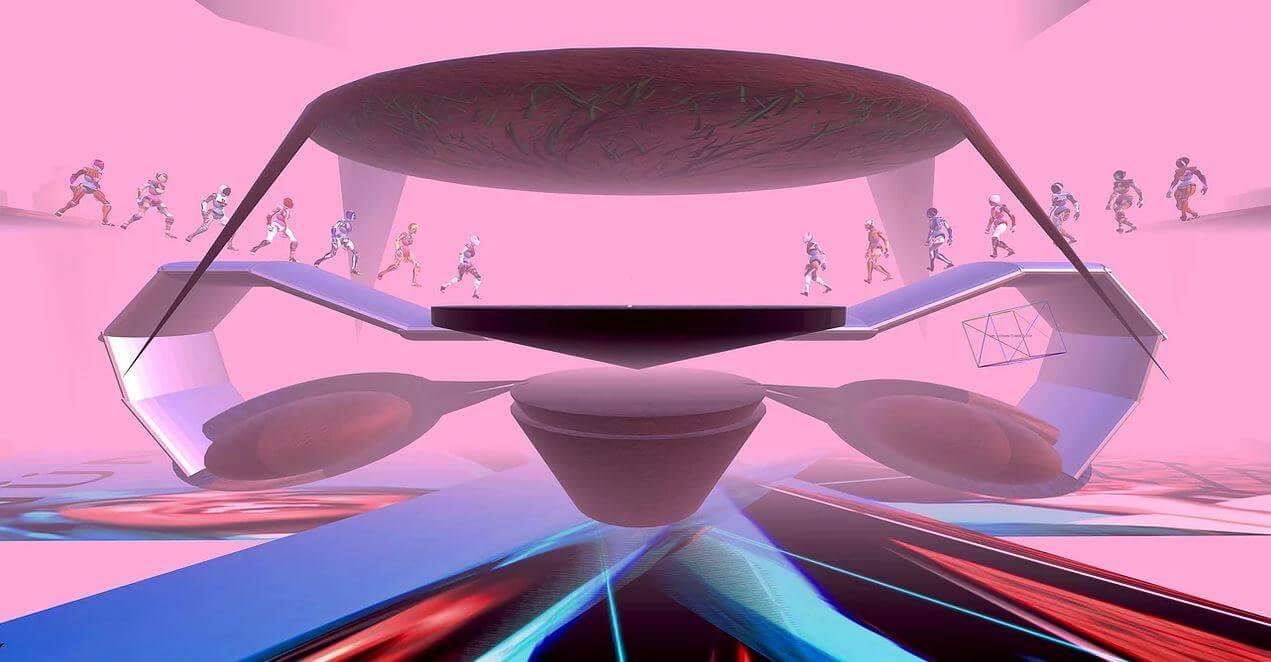 Screenshpt von einer virutellen Ausstellung, zu sehen ist eine Nachbildung eines Uterus, von links und rechts wandern Figuren ins Bild hinein, das Bild ist zum Großteil rosafarben