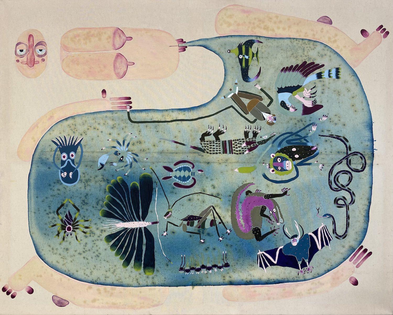 Ein fragmentierter Körper scheint eine Art blaue Blase zu gebähren, die von Fabelwesen bevölkert ist.
