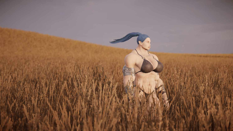 Ein blauhaariger Ork steht in einem Kornfeld. Der Pferdeschwanz weht im Wind.
