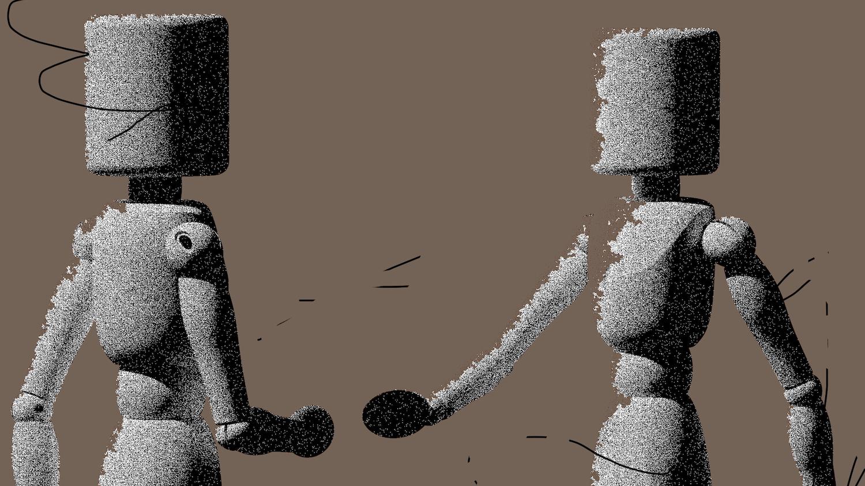 Zwei animierte Männchen gehen auf einander zu, brauner Hintergrund.