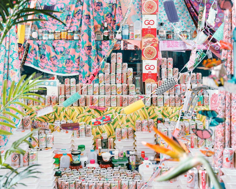 Volles, buntes Bild mit diversen Getränkedosen, Stoffmasken und anderen Lebensmitteln, von links ragen grüne Pflanzen ins Bild hinein