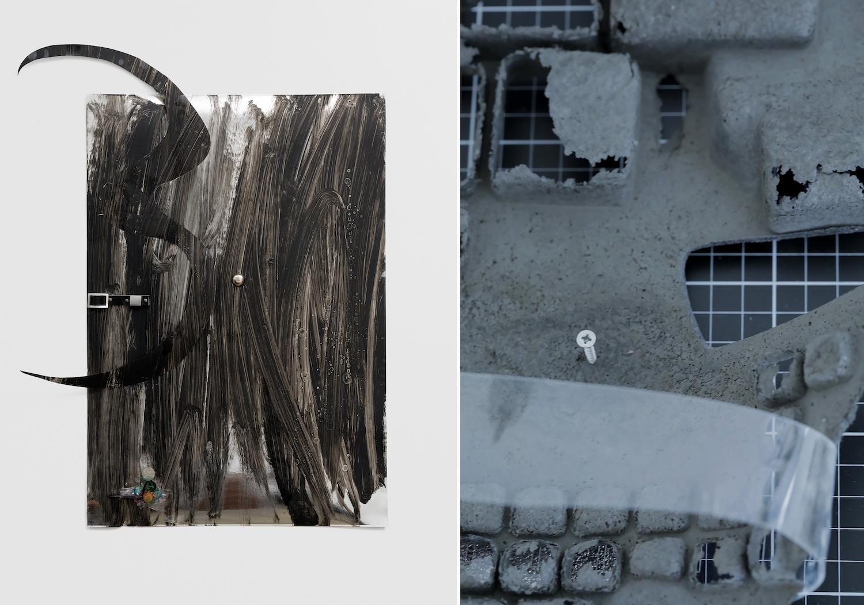 Links eine schwarze Malerei von Cudelice Brazleton, rechts eine Detailansicht eines Abgusses einer Tastatur.