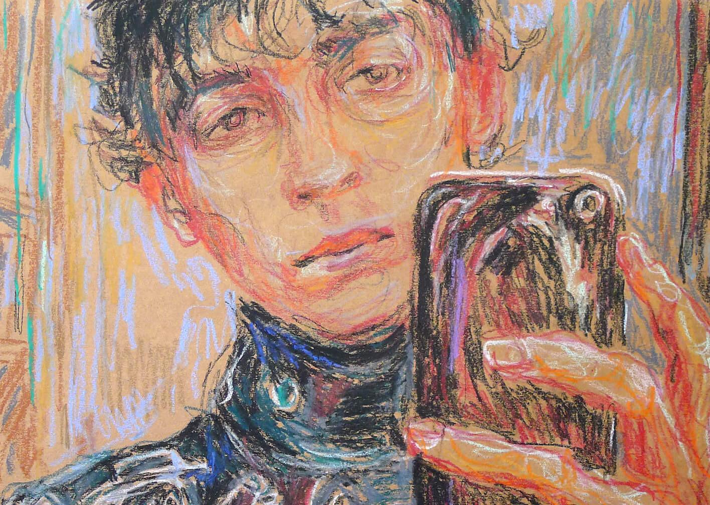 Das Bild zeigt ein Detail einer Pastellzeichnung der Künstlerin Ulrike Theusner.