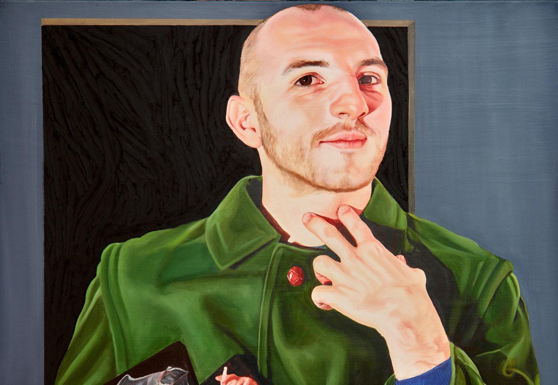 Ein Mann auf einem Gemälde, der sich zwei Finger auf seinen Kehlkopf hält.