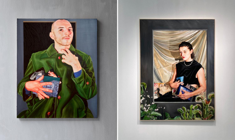 Zwei Gemälde von Chloe Sei Breil Dupont ausgestellt in der NewChildGallery.
