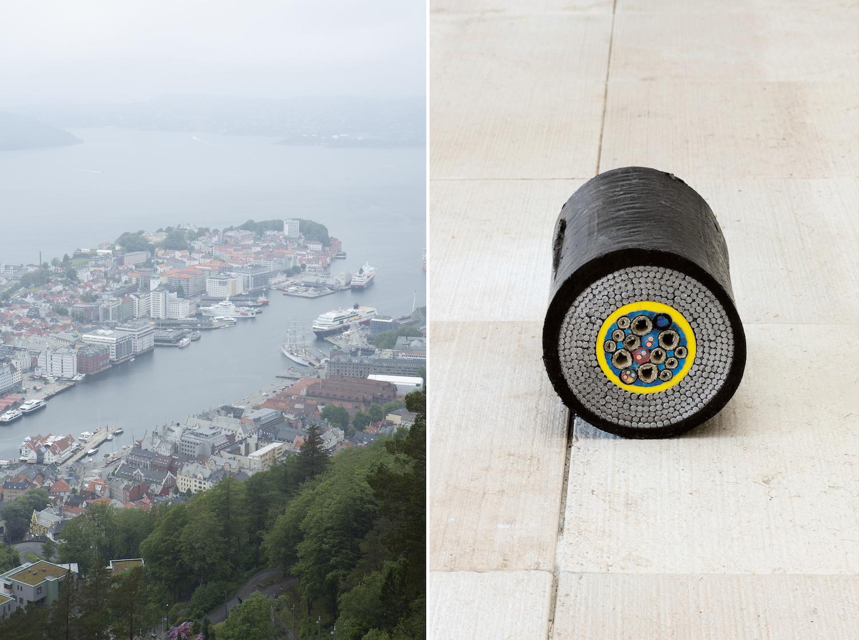 Links ein Foto von Bergen mit Blick auf den Hafen, recht ein Foto einer Kabel-Skulptur von Nina Canell.