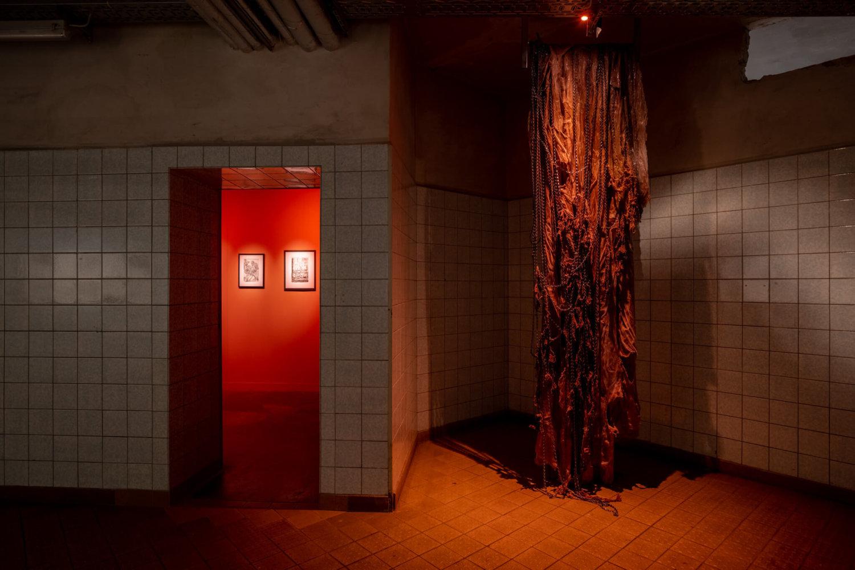 In einem rot ausgeleuchteten Raum hängt eine Arbeit von Mire Lee von der Decke, die organisch-fleischig aussieht. Im Hintergrund sind Skizzen von HR Giger zu erkennen.