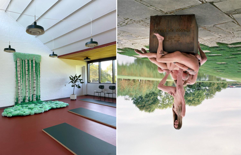 """Links der zerfließende Birkenwald-Teppich von Nina Ekman, rechts der """"Socle du Monde"""", auf dem mehrere nackte Leiber drapiert sind, die Fotografie steht auf dem Kopf."""